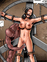 Fat pervert bought a new slave girl on sale!